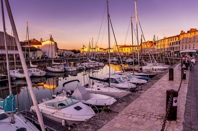 Sunset over Saint Martin de Ré harbour on the Ile de Ré
