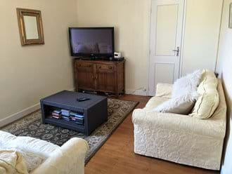 "TV lounge with a three seater and two seater settee, Blu Ray DVD player and 42"" TV"
