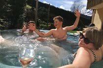 Enjoying the hot tub