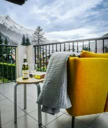 Relax with a glass of wine watching the sunset over the Mont Blanc Range