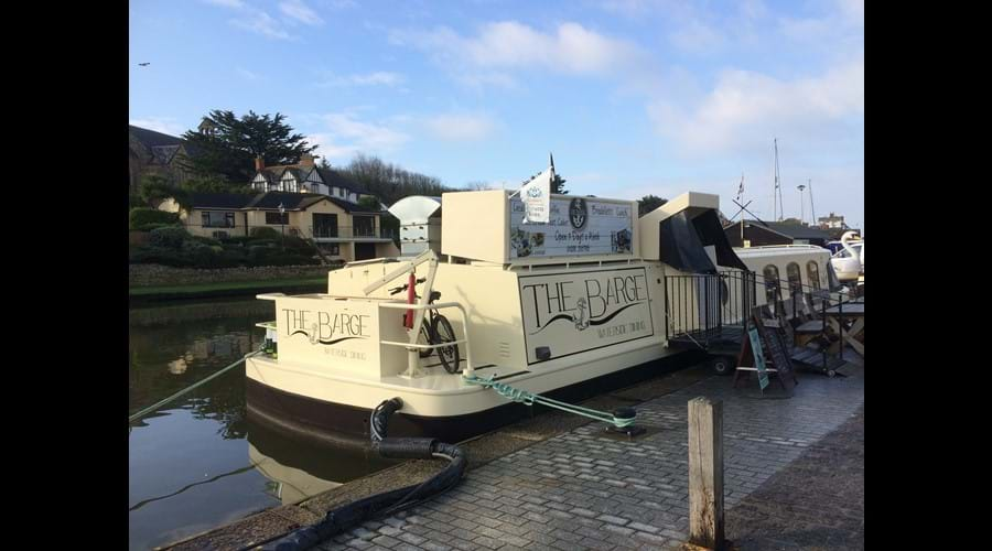 Floating restaurant on Bude canal