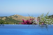 The pool with views of the Mediterranean Sea