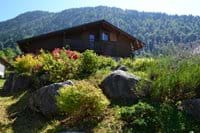 Looking at the Chalet from the garden