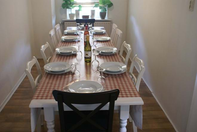 Large extendable dining tables with a choice of 10 chairs or 3 benches....