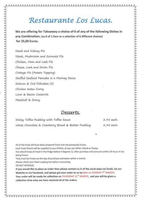 New Pie/Lunch Takeaway Menu. Orders to be with us by 6pm on Sunday 7th March for Collection on Thursday 11th March.