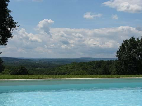 Dordogne views towards Sarlat from the pool