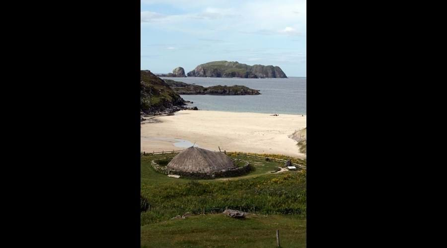 Bosta beach and iron age house, Bernera