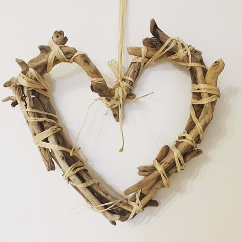 Handmade driftwood loveheart, Chapel Bay Lodge