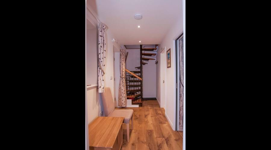 The ground floor hallway - spriral staircase between floors