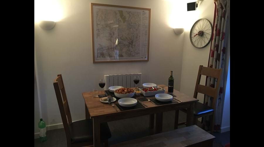 Dining table seats up to 6 people