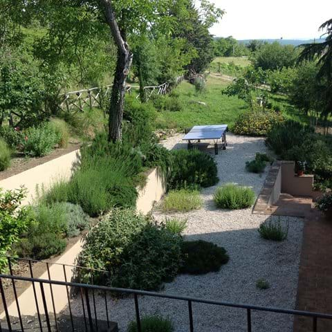The herb garden from the top terrace
