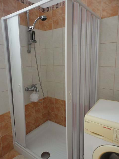 Shower cubicle  and washing machine in the family bathroom