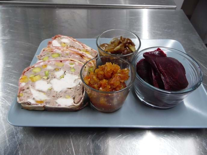 Homemade Chicken and Pork Terrine with Apricots and Pistachios.