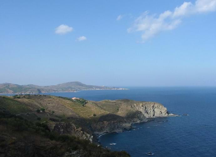 The spectacular rocky coast south of Port Vendres, where the Pyrenees meet the sea