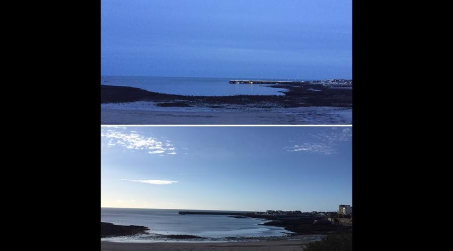 Night and day on Chapel beach, Port St Mary... tide's out!