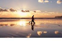 Sun set walk on the beach