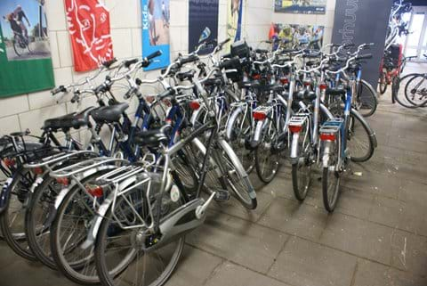 Rental bikes stand ready for you....
