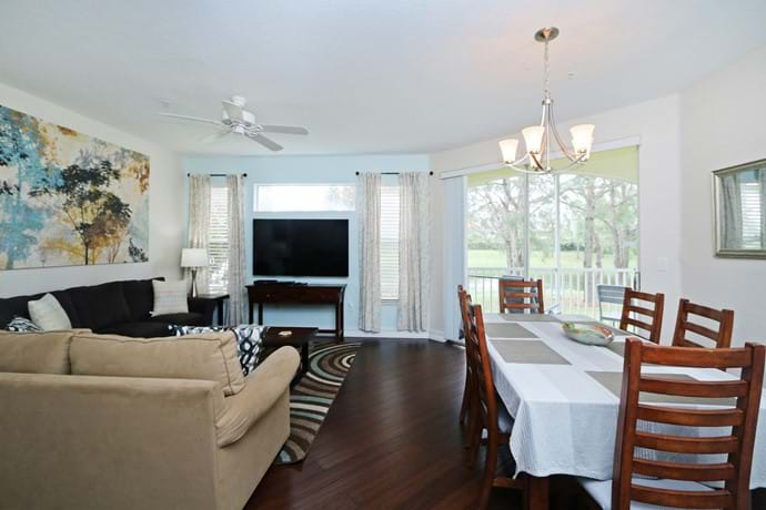 newly refurbished living and dining area in our 2 bedroom condo 7-108