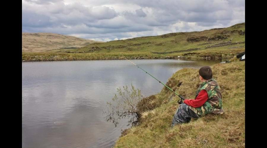 Fishing on Pibble Loch for brown trout - patience is required!