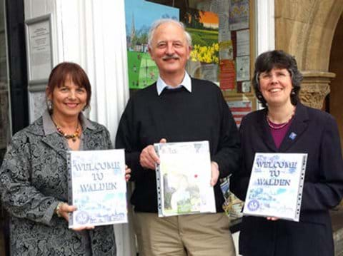 L to R: Michelle Preston (Tourist Information Centre), John Ready (Saffron Walden Initiative) and Judith Thompson (TIC), launching the Welcome Packs, April 2015.