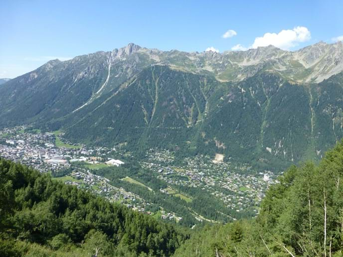 Views from the Train du Montenvers over the Chamonix valley