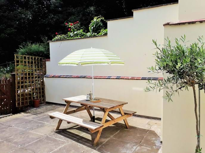Private rear courtyard area
