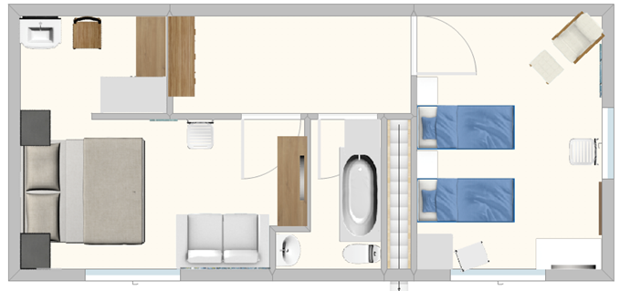 Upstairs plan -bedroom 1 with dressing room, bathroom off landing and bedroom 2