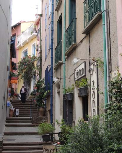 One of many pretty pedestrian streets in old Collioure