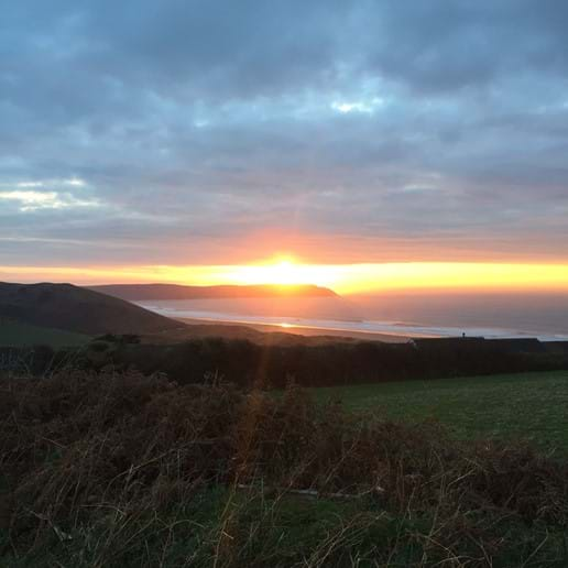 Autumn sunset view from Woolacombe Dunes