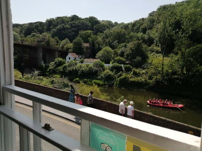 STUNNING VIEW OF THE IRON BRIDGE FROM THE ARMCHAIR AT IRONBRIDGE VIEW TOWNHOUSE