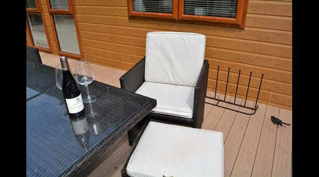 Patio furniture on decking