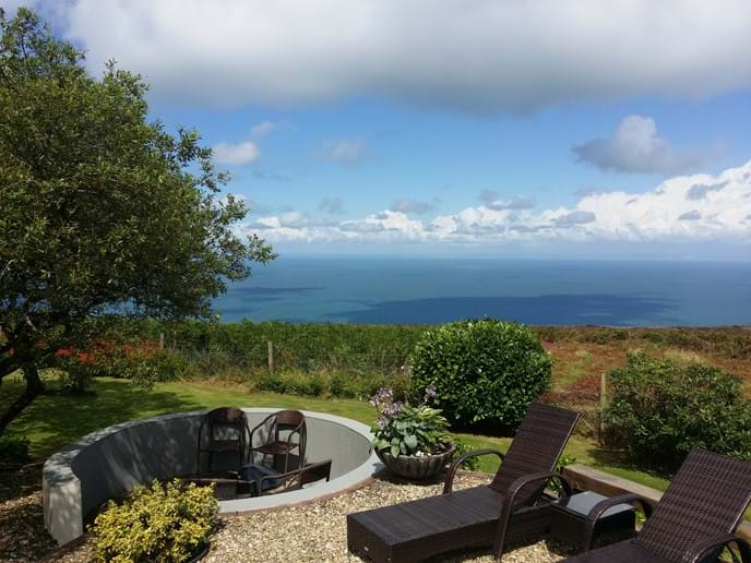 Moorlands to Sea fire pit and sunloungers