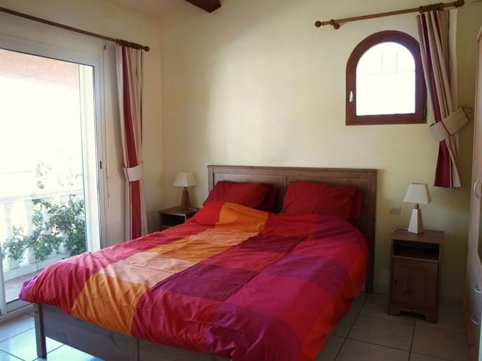 Upstairs double aspect double bedroom with balcony and views of the Alberes Hills, and the spectacular Mount Canigou, which is snow-capped in winter.