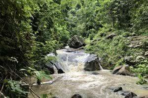 Het rivierdal dat aan de tuin grenst,  in de regentijd (ca 100 meter lager dan de tuin)