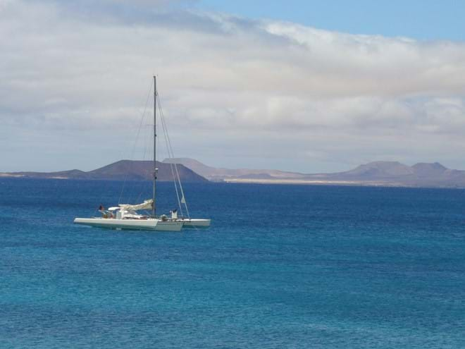 Watching the world go by and looking over to Isla de Lobos and Fuerteventura from Playa Blanca