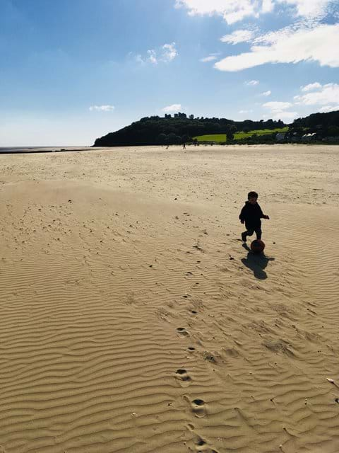 Sunshine at Llansteffan - the castle on the hill