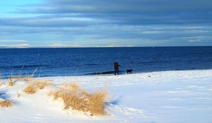 snow on Nairn beach, very rare sight!