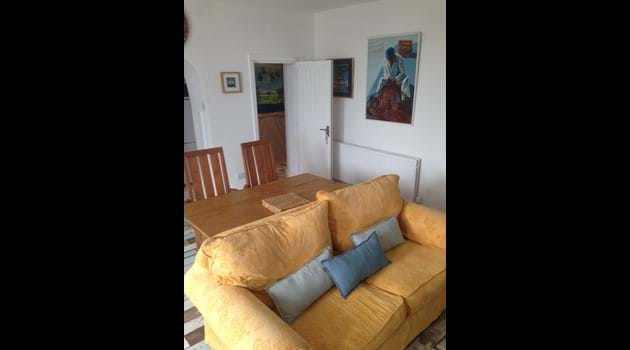 Lounge with doorway through to internal hall, leading to bedroom and bathroom, Chapel Bay Lodge