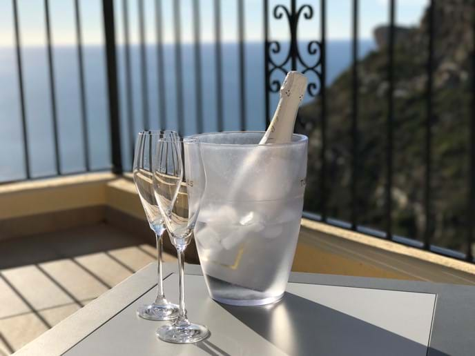 Enjoy relaxing on the terrace with a chilled glass of bubbly....