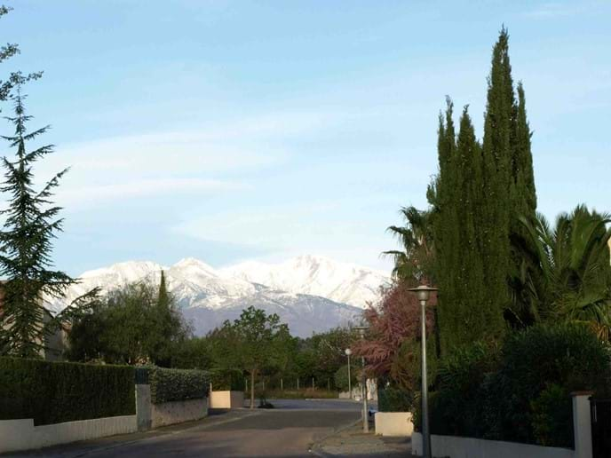 Winter view of snow-capped Mount Canigou - our house is on the left