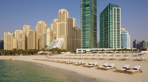 """Jumeirah Beach! Al Bateen Residences tower to the left Hilton Hotel on the right"""