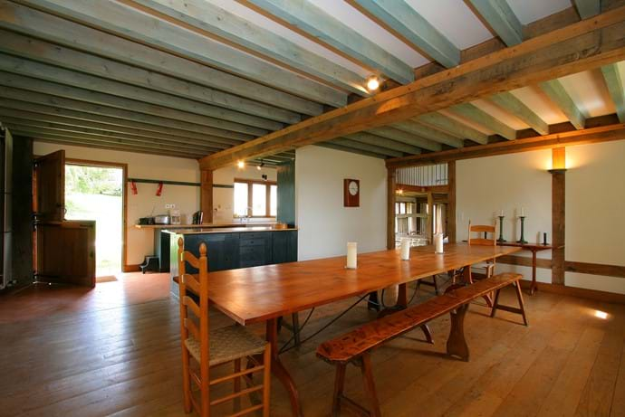 The dining room in The barn, Boudet, Normandy with space to easily seat 12 or up to 16 if you add extra wings.