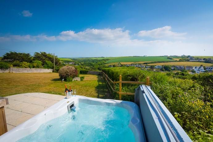 6 person hot tub with views over the over valley