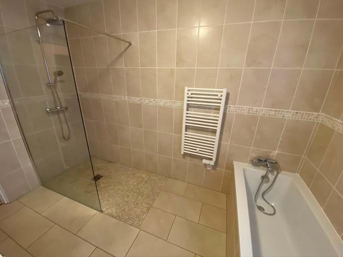 Walk in shower in main bathroom