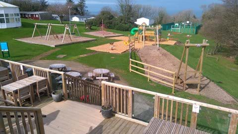 The Boathouse terrace overlooking the playground