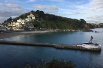 Looe harbour and sandy beach