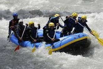 White water rafting along the river Arve