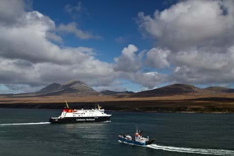 Caledonian McBrayne ferry and the Paps of Jura