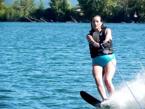 Kalli water skiing the river