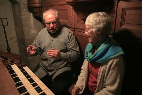 Visitor to Ecce Homo was world renown organist, composer Manfred Bleffert. pictured at the Mader Organ with Sr Maureen Cusick.